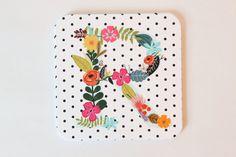 Custom Monogram Initial Paper Coasters