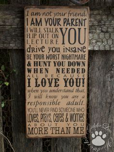 The Parents Sign, Subway Art, Word Art,Typography Pine Wall Sign. $33.00, via Etsy.
