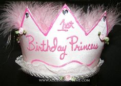 1st Birthday Princess Pink Marabou Crown Hat by accessoriesbyme, $38.99