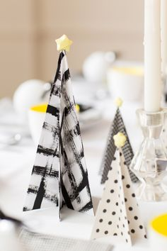 Learn how to make these bold black and white Christmas trees with our step-by-step tutorial.