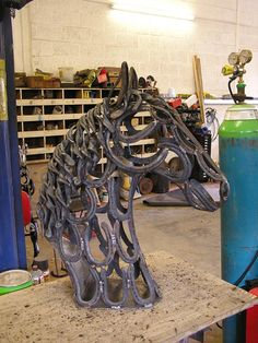 horse shoe sculpture
