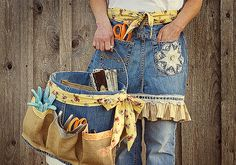 kendra mccracken: Old Pair of Jeans + Fabric = Cute Little Garden Apron