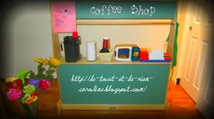 Some neat ideas for your Coffee shop in your pretend play area!
