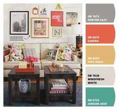 Living Room Color Scheme... Original image found here: http://bliss-athome.com/2013/07/10/gallery-walls-on-the-mind/