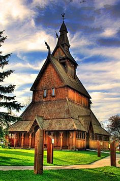 Photo by Zach Heller - Hopperstad Stave Church Replica, which is located behind the Heritage Hjemkomst Center in Moorhead, MN.