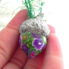 3 Christmas Acorn Ornaments Purple and Green Flowers by LavaGifts, $14.50