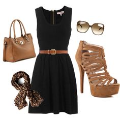black dress, tan accessories, leopard scarf to pull it all together.