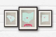 Wedding Print  Triptych Art  Three Piece Art  by PaperFinchDesign