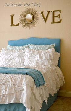 DIY fabric covered headboard ~ A full size made from a twin size frame!