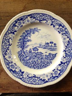 Blue and white china small plate by FunkyRevival on Etsy, $13.00