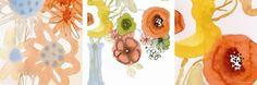Watercolor Bouquets Triptych