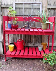 A potting bench made from recycled pallets