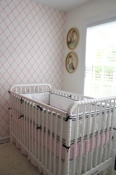 Pink and White Wallpaper Accent Wall in Baby Girl Nursery - #projectnursery #babygirl