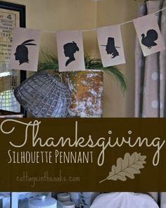 silhouett, thanksgiv printabl, printabl pennant