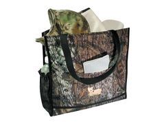 Full size Camo Diaper Bag, Realtree Hardwoods or Mossy Oak Break-up pattern. 13 in. x 13 in. x 4 in. This bag has a bottle pouch on each end with three additional pouches on the outside. Nylon coated waterproof.