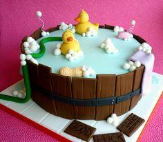 baby shower cakes, celebration cakes, barrel babi, cake recip, bubble baths, baby shower fun, babi shower, bath time, baby showers