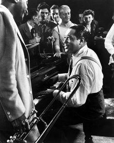 Here's a great photo of Duke Ellington at a jazz jam session in LIFE photographer Gjon Mili's studio