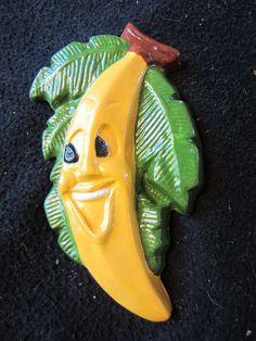 Anthropomorphic Chalkware Fruit Banana Funny Face by kookykitsch,