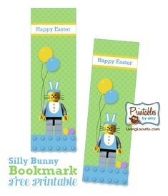 Free Printable Lego Bunny Bookmarks for #Easter Basket gifts. by @Amy Locurto | LivingLocurto.com