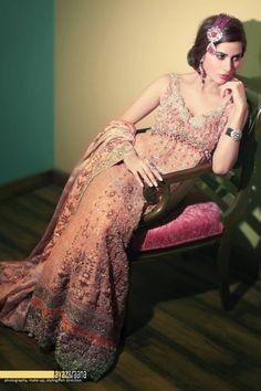 pink rose tena durrani bridal lengha - Ayaz and Raana. More here: http://www.indianweddingsite.com/10-maang-tikka-jhoomar-looks/