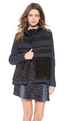 This Thakoon jacket is everything you need for Fall. Chic and warm, you may not want to take it off once you're inside. thakoon jacket