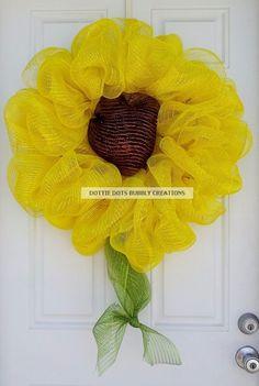 Yellow Metallic Summer Sunflower Mesh Wreath