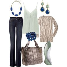 mint & navy, created by #htotheb on #polyvore. #fashion #style 7 For All Mankind #Marni