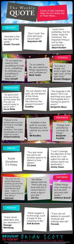 A week's worth of motivational quotes to help you survive your week.