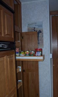 RV pantry remodel: Pull out shelves!  Great idea!! - could actually see what is in there!!