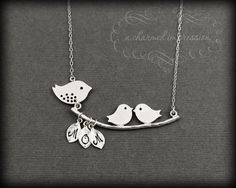 Mama Bird Baby Bird Necklace . Sterling Silver Bird Necklace . 2 Babies . Personalized Mother's Necklace . Too cute.