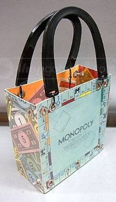 upcycled board game Monopoly tote