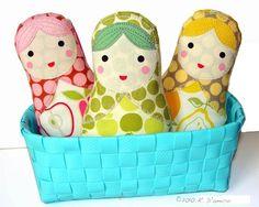Pastel Matryoshka Cloth Doll Gift Set by ArtforBabyandKids