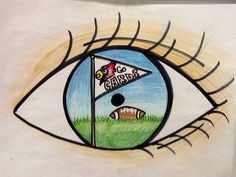 I drew this eye reflection using sharpies, color pencils and crayons for my elementary students as an example. Cardinal football.