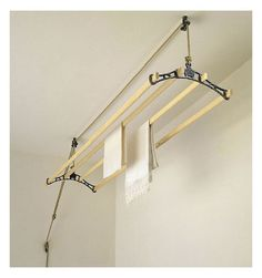 the shiela maid: pulley system clothes airer dries clothes out of the way by the ceiling