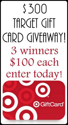 Enter to win one of THREE $100 Target gift cards here!  #giveaway #win