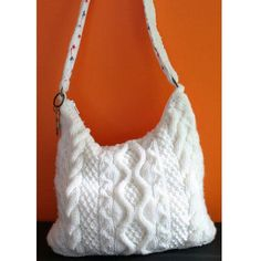 """This bag is good for any season of the year, but multiple cable patterns, worsted weight yarn and white color make it look cozy and """"wintery"""". #Knitting #Pattern"""
