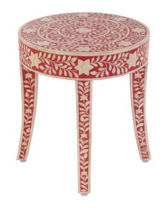 Pink Mother of Pearl Inlay Stool