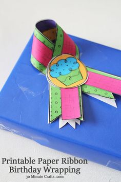 Printable Paper Ribbon Birthday Wrapping