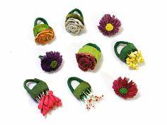 Paper Jewelry by Ana Hagopian. Rings - Daisy / Rose / Garden