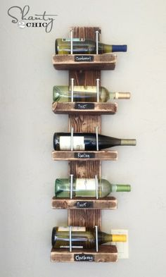 DIY Wine Rack under 15$ - 60+ Innovative Kitchen Organization and Storage DIY Projects
