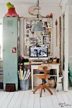 Love the butcher block top w/ Ikea trestle legs...and that locker. Home office inspo - Design*Sponge