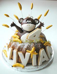 Monkey cake bundt cakes, banana, monkey birthday, monkeys, monkey cakes, cake cupcak, birthdays, birthday bundt cake, birthday cakes