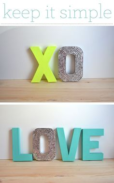 Neon letters with rhinestones! These would be cute gift for someone living in a dorm or apartment. Get cardboard letters from Walmart or a craft store, and paint them. You can decorate them with quarters, dimes, or mirror squares too. These would also be great props for a photo shoot.