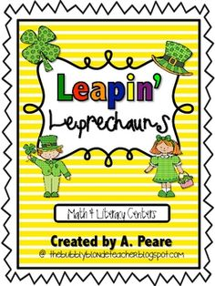 Leapin' Leprechauns Center Activities with matching worksheets.