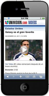 An example of Univision's new mobile site for video content.