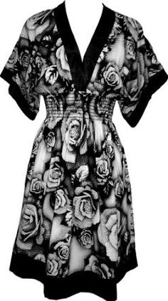 wardrob, cloth, white roses, plus size, the dress, black white, kimono style, print, dress designs