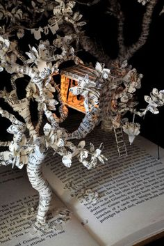 book art, bookart, book sculpture, painting art, tree houses, papers, house art, paper trees, old books