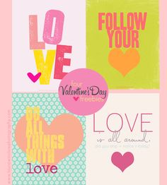 Set of 4 Free Valentine Printables #valentinesday #valentine #freebie #printable