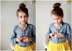 kids fashion, bun, bow, polka dots, skirt, girls fashion, fashion