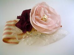 Fabric flower wrist corsage --- use a cuff of an old shirt and then sew on flowers - good DIY gift for guests at vintage wedding